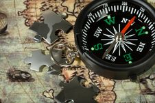 Free Compass On The Old Map Royalty Free Stock Photo - 13652875