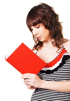Lovely Brunette Reading A Red Book