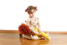 Little Girl With Doll Stock Images