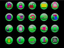 Free Colorful Web And Internet Icons On Green Buttons Royalty Free Stock Photos - 13654048