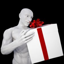 Free Man With Gift Royalty Free Stock Photo - 13654335
