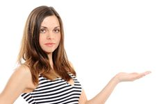Young Woman Presenting Copy-space Stock Photo