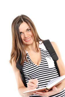 Young Woman With A Backpack Stock Photo