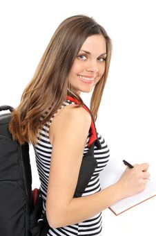 Young Woman With A Backpack Royalty Free Stock Photos