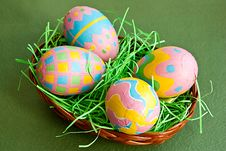 Free Easter Eggs In A Basket Stock Images - 13655494