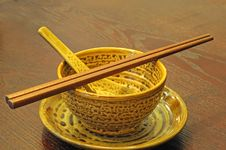 Free Chinese Chopstick  Bowl   Spoon Dish On The Desk Stock Image - 13656091