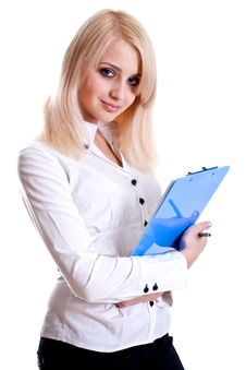Business Woman In A Suit With Clipboard Stock Image