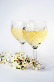Free Wine Glasses With White Wine And A Plums Branch Royalty Free Stock Image - 13657596