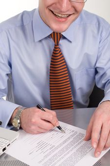 Businessman Signing Document With Pen Royalty Free Stock Photo
