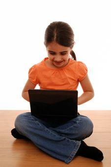 Free Girl Using Laptop Stock Photography - 13659382