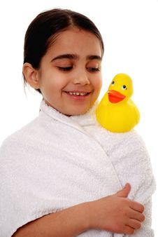 Girl With Rubber Duck Royalty Free Stock Photo