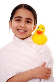 Happy Child With Rubber Duck Royalty Free Stock Photography