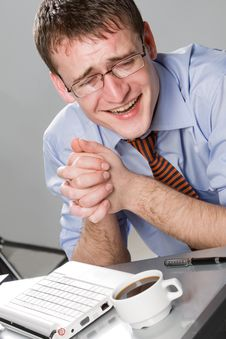 Young Businessman Laughing Stock Image