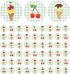 Bright Color Background With Ice-cream And Cherry Stock Photo