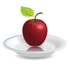 Free Apple On Saucer Stock Photos - 13659763