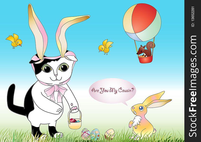 Cat in a Bunny Bonnet