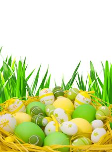 Free Easter Eggs On Green Grass Royalty Free Stock Photography - 13660307