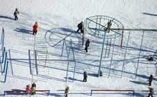 Free Children Playground On Winter Day Royalty Free Stock Photo - 13660405