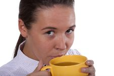 Free Young Woman Drink Tea From Cap Royalty Free Stock Photo - 13660445