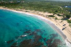 Caribbean Coastline From Helicopter View Stock Images