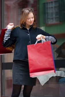 Free Young Woman With Shopping Bags Stock Images - 13661744