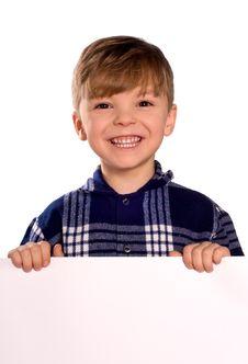 Boy Holding A Blank Stock Photography