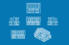 Free House Blue Print Stock Photo - 13663430