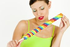 Free Woman With A Lollypop Stock Images - 13664774