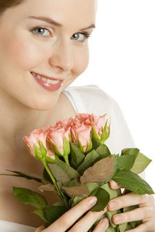 Free Woman With Roses Stock Images - 13664854