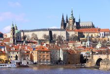 Free The View On Prague Castle With The Charles Bridge Royalty Free Stock Photography - 13665207