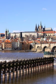Free The View On Prague Castle With The Charles Bridge Stock Photos - 13665463