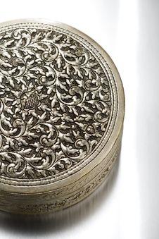 Floral Patterned Antique Metal Case Stock Images