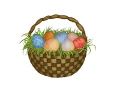Free Basket With Easter Eggs Stock Images - 13665864