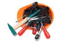 Free Building Tools In An Orange Helmet Royalty Free Stock Image - 13666116