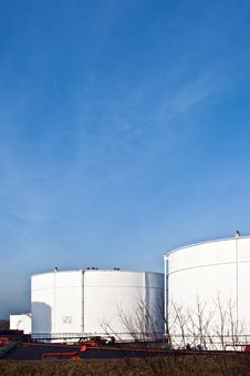 Free White Tanks In Tank Farm With Blue Sky Stock Image - 13666451