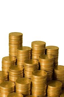 Free Golden Coins Isolated Isolated Over White Stock Image - 13666641