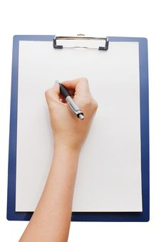 Free Clipboard And Hand Royalty Free Stock Image - 13666666