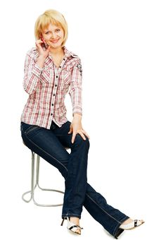 Free Girl Speaks By Phone Isolated On White Stock Photos - 13666793