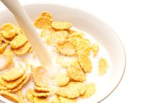 Free Corn-flakes On White Plate. Royalty Free Stock Image - 13666866