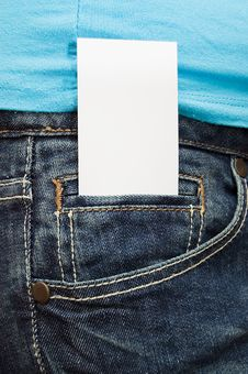 Blank Business Card In Jeans Pocket Royalty Free Stock Image