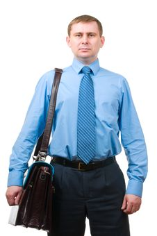 Businessman With Leather Briefcase Royalty Free Stock Photos