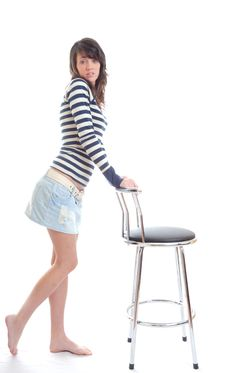 Free Pretty Brunette With Stool Royalty Free Stock Image - 13667646