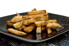 Golden Brown Home Made Chips. Stock Images