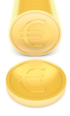 Free Gold Coins With Euro Sign Royalty Free Stock Image - 13668486