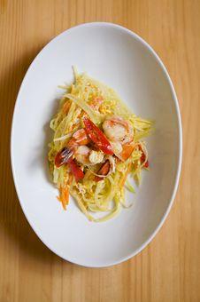 Free Stir Fried Papaya And Shrimp Stock Images - 13669064