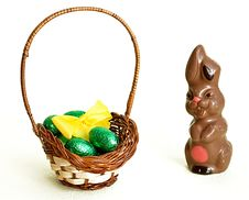 Free Chocolate Bunny And Easter Eggs Royalty Free Stock Image - 13669746