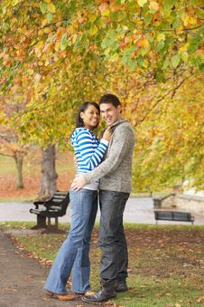 Free Romantic Teenage Couple In Autumn Park Royalty Free Stock Photos - 13671738