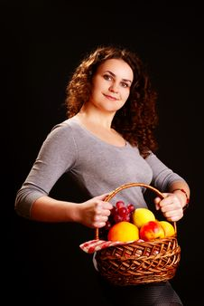 Free Woman With Fruit Basket Royalty Free Stock Images - 13672419