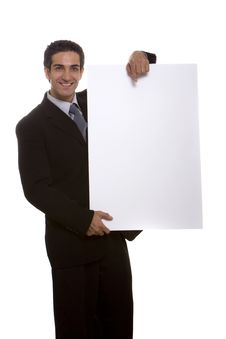 Businessman Holding A Board Royalty Free Stock Photography