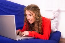 Free Woman With Computer Stock Photography - 13673132